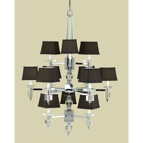 AF Lighting Cluny 12 Light Chandelier with Poly Silk Shade