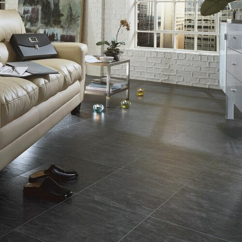 Cascade clic 8mm tile laminate in evening mist wayfair for Columbia clic laminate flooring reviews