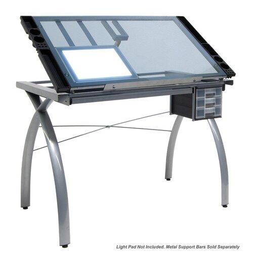 "Studio Designs Futura Light Pad Support Bars 40"" W x 26"" D Drafting Table"