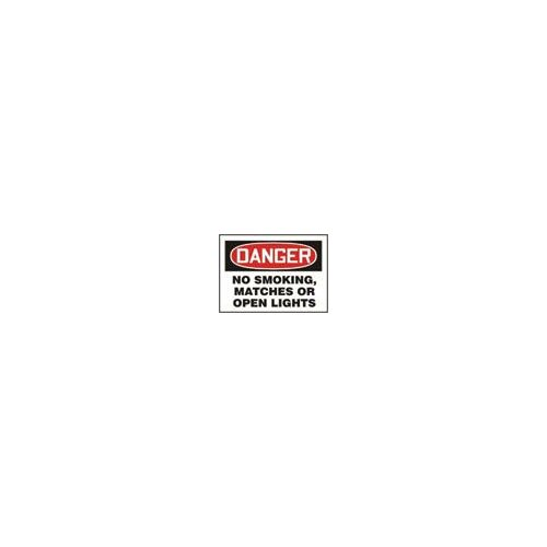 "Accuform Manufacturing Inc X 10"" Red, Black And White Adhesive Vinyl Value™ No Smoking Sign Danger No Smoking, Matches Or Open Lights"