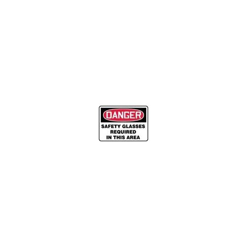 "Accuform Manufacturing Inc X 14"" Red, Black And White Adhesive Vinyl Value™ Personal Protection Sign Danger Safety Glasses Required In This Area"
