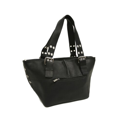 Piel Leather Ladies Buckle Shoulder Tote