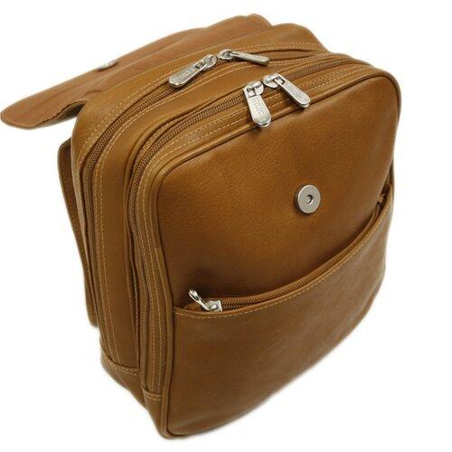 Piel Leather Entrepreneur Flap-Over Mini Backpack in Saddle