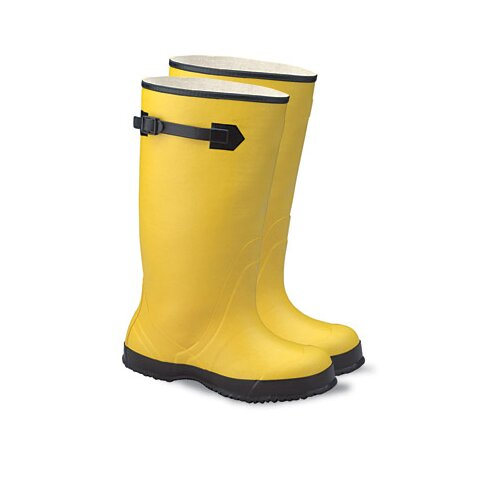 "Radnor 13 Yellow 17"" Rubber Plain Toe Over-The-Shoe-Boot With Fabric Inner Lining, Side Strap And Black Ribbed Outsole"