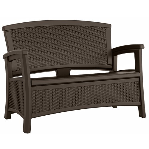 Suncast Elements Coffee Table With Storage Java: Elements Wicker Storage Bench