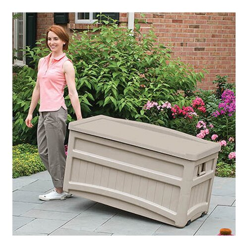 Suncast Resin 73 Gallon Deck Box with Seat and Wheels