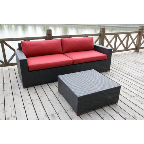 Pasadina Deep Seating Sofa with Cushions and Coffee Table