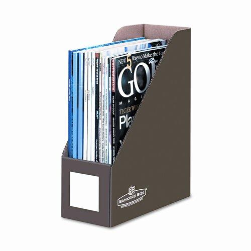 Bankers Box® Decorative magazine file, 1 pocket, 4w x 9d x 11 1/2h, mocha brown