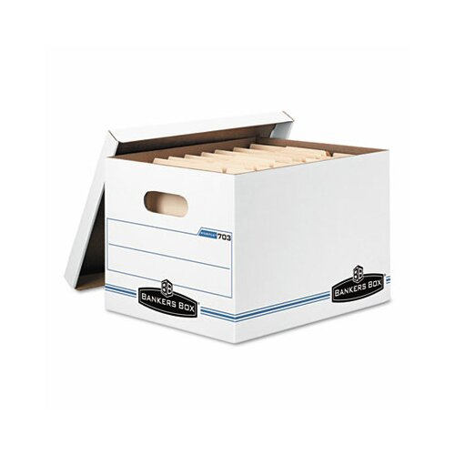 Bankers Box® Stor/File Storage Box, Letter/Legal, Lift-Off Lid, White, 6/Pack
