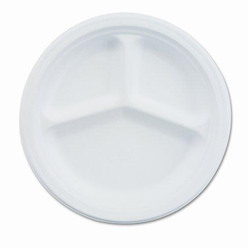 "Chinet Paper Dinnerware, 3-Compartment Plate, 9-1/4"" Diameter, White, 500/CT"
