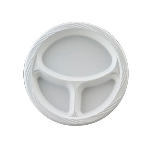 "Chinet 10.25"" Round Plastic Plates with 3 Compartments in White"