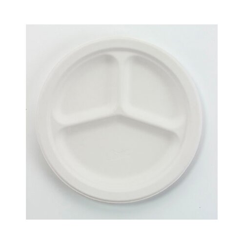 """Chinet 10.5"""" Round Classic Paper Plates with 3 Compartments in White"""