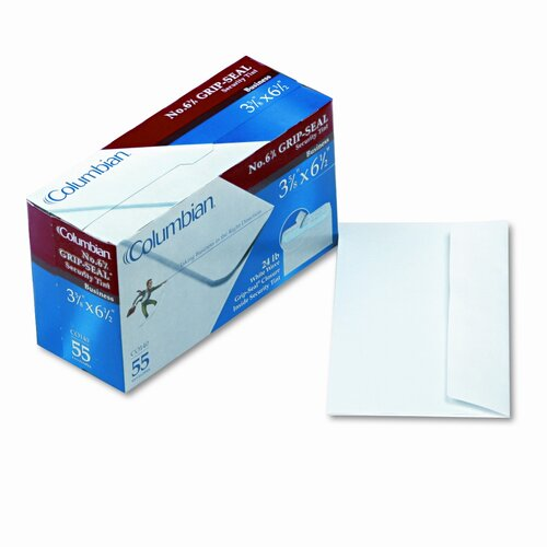 Columbian Envelope Grip-Seal Inside-Tint Business Envelopes,#6-3/4,White Wove,55/bx