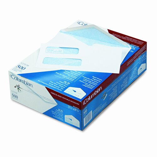 Quality Park Products Double Window Security Tinted Invoice and Check Envelope, #8, White, 500/box