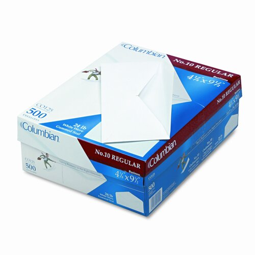 Columbian Envelope Gummed Flap Business Envelope, V-Flap, #10, White, 500/box
