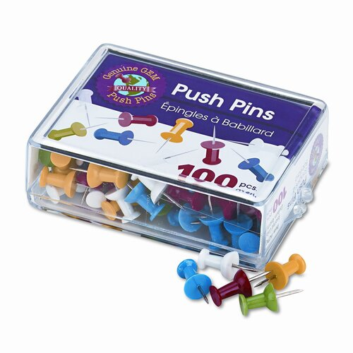 "Gem Office Products, LLC. Plastic Head Push Pins, Steel 3/8"" Point, Assorted Colors, 100 per Box"