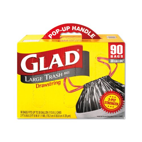 Glad Drawstring Outdoor Trash Bags in Black