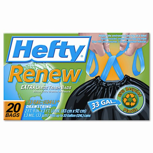Hefty Renew Recycled Kitchen and Trash Bags, 20/Box