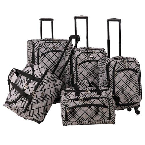 Silver Stripes 5 Piece Luggage Set
