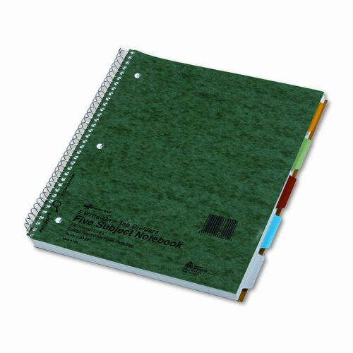 National® Brand 5-Subject Wire Notebook, 200 Sheets