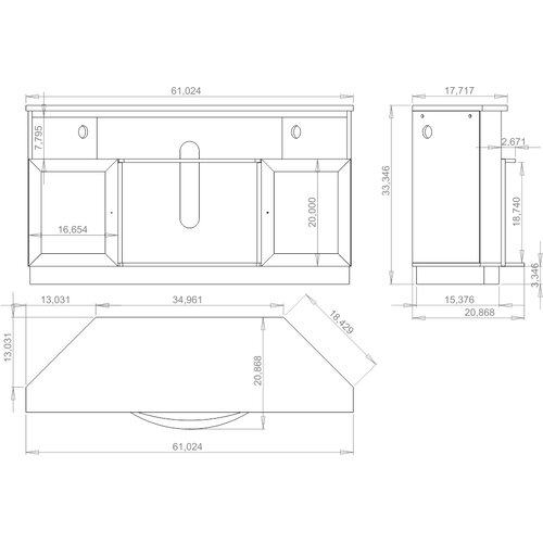 """Furnitech 61"""" TV Stand with Curved Electric Fireplace"""