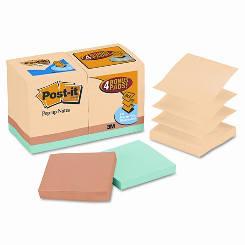 Post-it® Bonus Pack Pop-Up Refills 3 x 3, Canary Yellow/Ast., 100-Sheet 18/Pack
