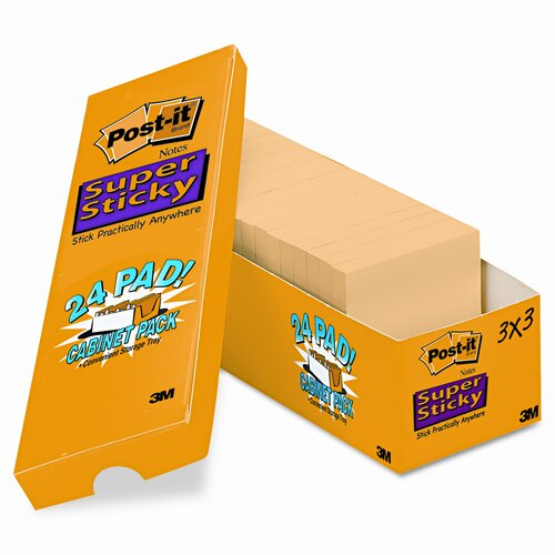 Post-it® Super Sticky Note Pad, 24 Pack