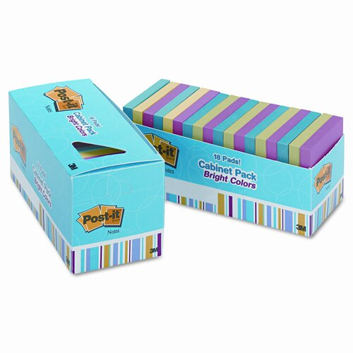 Post-it® Cabinet Pack Note Pad, 100 Sheets/Pad, 18/Pack
