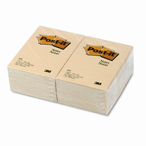 Post-it® Original Note Pad,  4 X 6, 12 100-Sheet Pads/Pack