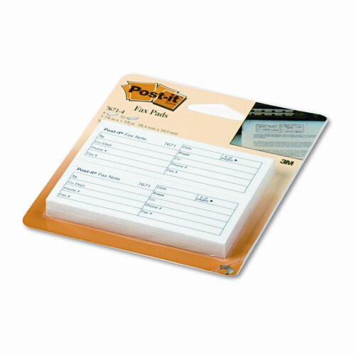 Post-it® Fax Transmittal Notes,1-1/2 x 4, White, Four 50-Sheet Pads/pack