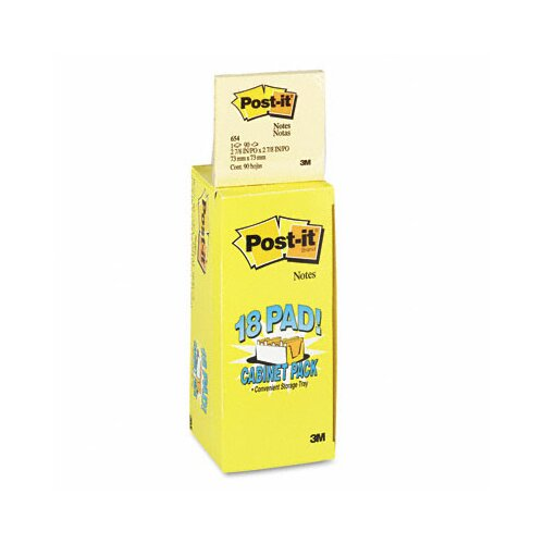 Post-it® Cabinet Pack, 3 x 3, Canary Yellow, 18 90-Sheet Pads/pack
