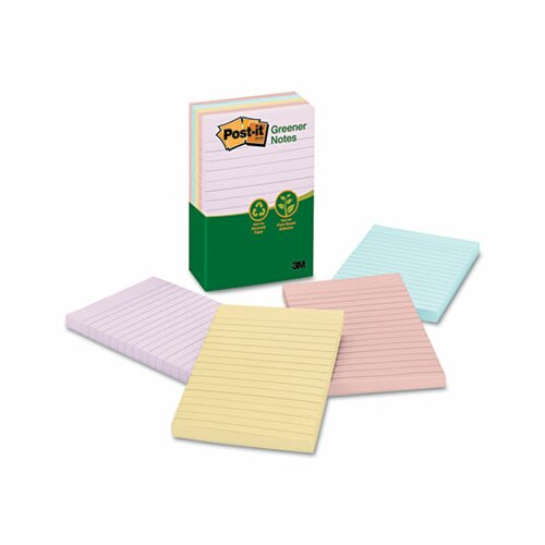Post-it® Recycled Notes, 4 x 6, Four Pastel Colors, Five 100-Sheet Pads/pack