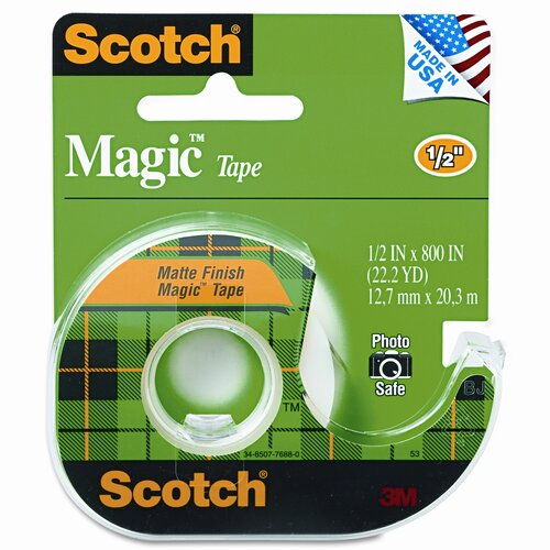 Magic Tape with Refillable Dispenser, 1/2