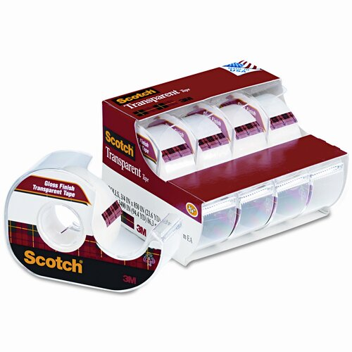 "3M Transparent Glossy Tape & Handheld Dispenser, 3/4"" x 23-1/2 Yards, Clear"