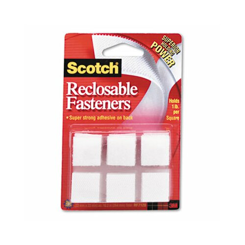 "Scotch-Brite™ Reclosable Hook & Loop Fastener Squares, 7/8"" Wide, White, 24 Sets/Pack"