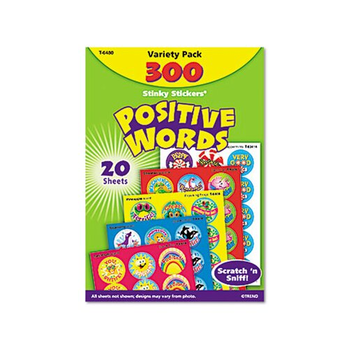 TREND ARGUS Stinky Stickers Variety Pack, Positive Words, 300/Pack