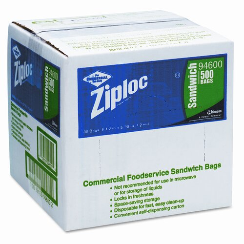 Ziploc® Resealable Sandwich Bag, 1.2 ml, 500/Box