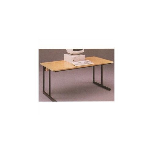 Fleetwood C-Leg Wide Computer Table with Flip Top Wire Management