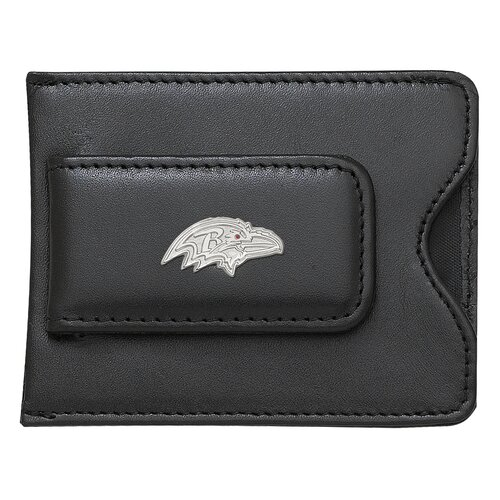 LogoArt® NFL Logo Black Leather Money Clip / Credit Card / ID Holder