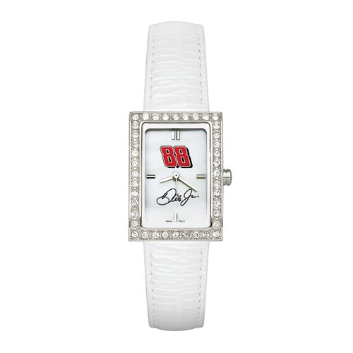 LogoArt® NASCAR Driver Ladies Fashion Watch with White Leather
