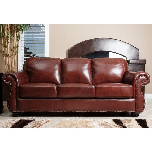 abbyson living harbor premium leather sofa reviews wayfair