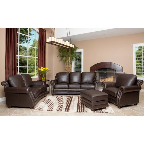 Fairfax 4 Piece Top Grain Leather Sofa, Loveseat, Armchair, and Ottoman