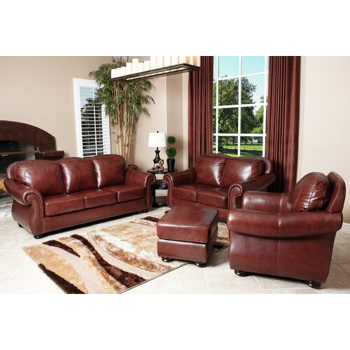Harbor Premium 4 Piece Semi-Aniline Leather Sofa, Loveseat, Armchair, and Ottoman Set