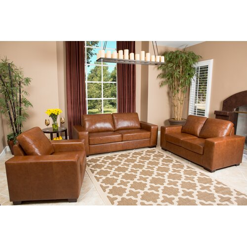 Sommer 3 Piece Hand Rubbed Leather Sofa, Loveseat, and Armchair