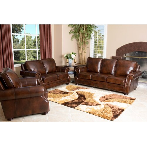 Karington 3 Piece Hand Rubbed Leather Sofa, Loveseat, and Armchair