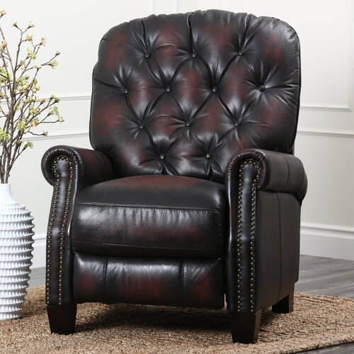 Abbyson Living Camden Hand Rubbed Top Grain Leather Pushback Recliner