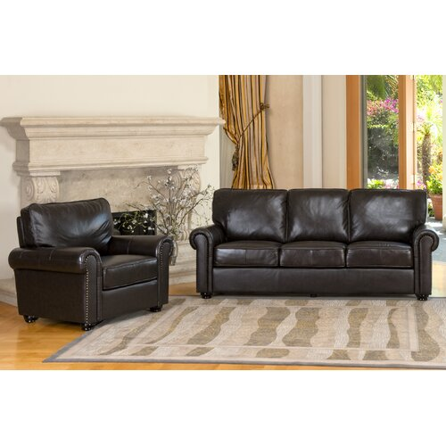 abbyson living bliss leather sofa and chair set reviews wayfair