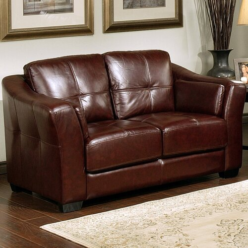 Abbyson Living Ashburn Italian Leather Loveseat