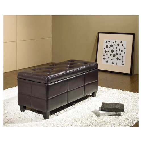 Abbyson Living Tribeca Leather Storage Ottoman in Espresso