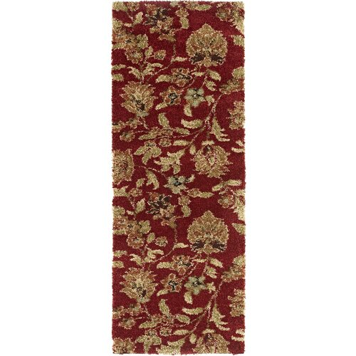 Fashion Shag Red Floral Rug